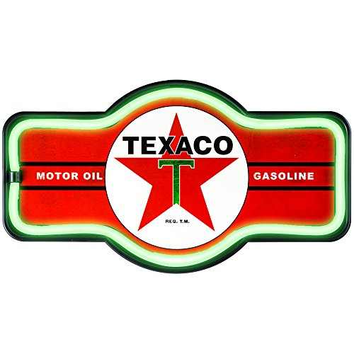Officially Licensed Texaco Motor Oil Gasoline LED Sign, New Improved Now with 6' Wall Plug Cord! LED Light Rope That Looks Like Neon, Wall Decor for Bar, Garage, or Man Cave - New Led Sign