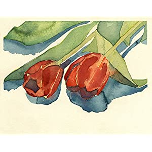 Floral Watercolor Painting - Two Red Tulips - Fine Art Print, Wall Decor, Gift 14