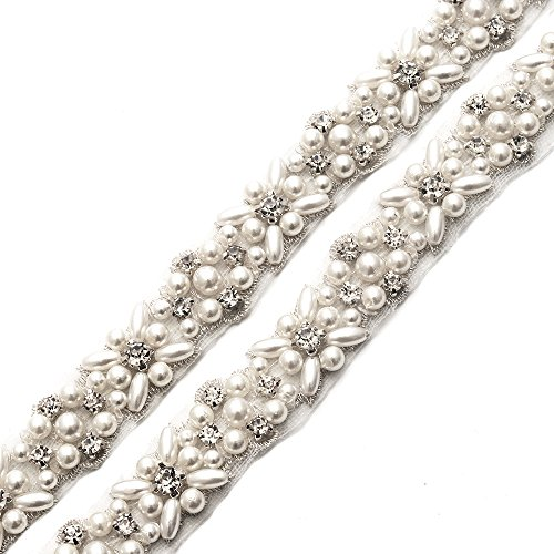 n Silver Pearls Crystal Rhinestone Applique Trims 1 Yard with Flat Iron-On Back for Bridal Wedding Belt Wownes Dress ()