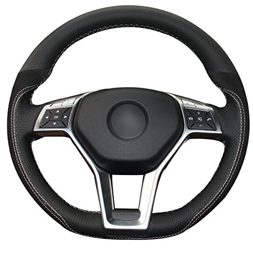 Leather Mercedes Benz Steering Wheel Cover (Loncky Black Genuine Leather Suede Steering Wheel Cover for Mercedes Benz C350 C250 C300 / CLA250 CLS550 / E250 E350 E400 E550 / GLA45 AMG / SL550 SL400 SLK250 SLK300 SLK350)