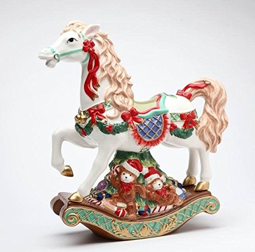 Collectible Ceramic Teddy (Rocking Horse with Wreaths and Ribbon Over Teddy Bear Base Music Box)