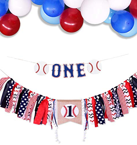 Baby 1st Birthday Decorations Baseball High Chair Banner One Garland with Balloons for Baseball Theme Baby Boy Birthday Baby Shower Supplies]()