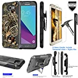 For Samsung Galaxy Emerge SM-J327 /ITUFFY 3Items [Tempered Glass]+Stylus Pen+[Impact Resistance] Dual Layer [Belt Clip] Holster Combo [KickStand] Phone Case Camo Duck - Black