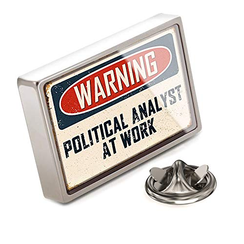 NEONBLOND Lapel Pin Warning Political Analyst at Work Vintage Fun Job Sign