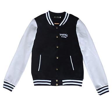 Primavera Otoño Mujer Chaqueta de Béisbol Moda Manga Larga College Bomber Jacket Cazadora Sudaderas Casual Patchwork Tops Corto Ropa de Abrigo Coat ...