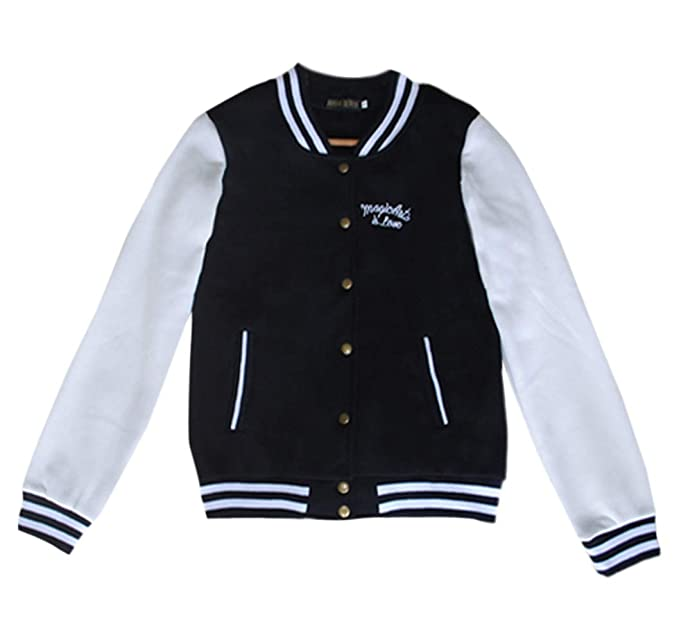 Primavera Autunno Donne Giacca da Baseball Moda Manica Lunga College  Giacche Bomber Jacket Felpe Cime Casual Patchwork Tops Corto Cappotto  Sweatshirt ... e8ddcc7cf0a5