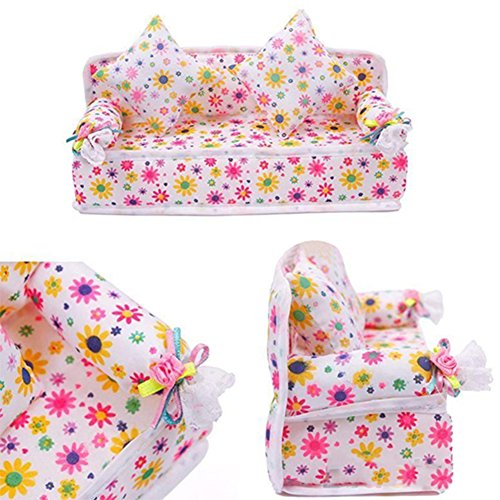 Lovely Mini Furniture Flower Print Sofa Couch with 2 Cushions for Barbie Doll House Accessories