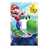 Single Toggle Wall Switch Cover Plate Decor Wallplate - Super Mario Galaxy Yoshi