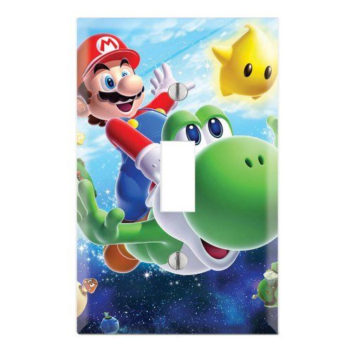 Single Toggle Wall Switch Cover Plate Decor Wallplate - Super Mario Galaxy Yoshi (Mario Super Light Galaxy)