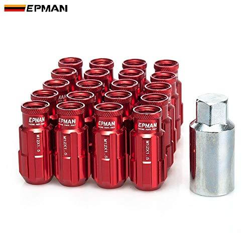 Epman Jdm Racing Style Aluminum Lock Lug Nuts 20Pcs W/Key 12x1.25 for Nissan Subaru Suzuki Aftermarket Wheel Nuts TK-E650H-1.25 (Red)