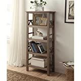 Atlin Designs 4 Shelf Bookcase in Rustic Gray