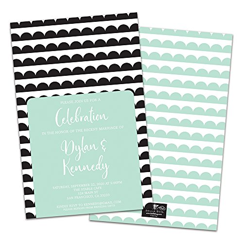 (Scallops Personalized Wedding Reception Invitations)