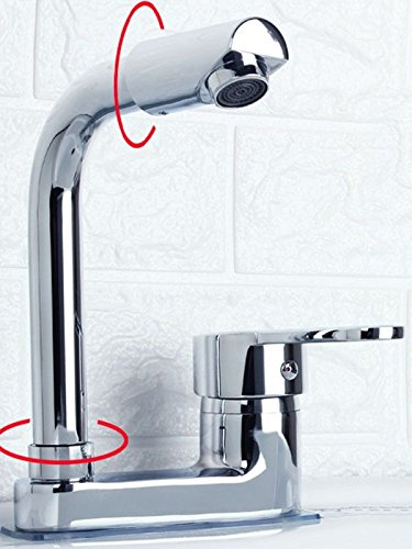 G iJIAHOMIE Style of Bathroom Sink Taps, Bathroom Faucets,Waterfall Basin Sink Mixer Tap Modern Copper, Double Hole, Three Holes, Basin, hot and Cold, Single Handle, Single Hole, D