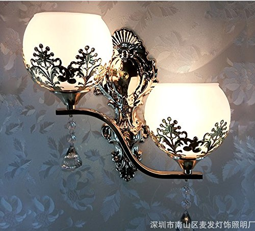 Double Head Milky White Modern LED compatible Crystal Bath Wall Sconce Lighting Fixture Bedroom Bathroom Lamp (Gold