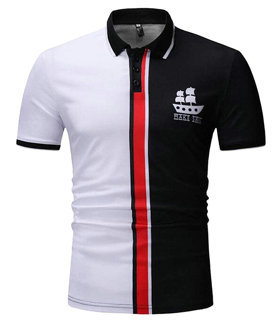 Jofemuho Mens Slim Fit Short Sleeve Color Block Plus Size Lapel