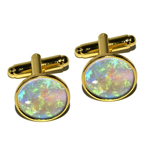 Graphics and More Opal October Birthstone - Faux Resin Round Cufflink Set - Gold