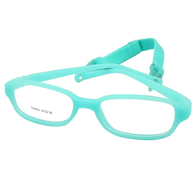 254aa51bb380 Amazon.com: EnzoDate Kids Optical Glasses Frame Size 47-16-115 with Cord, No  Screw Bendable (aqua): Clothing