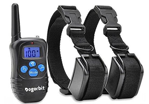 Dogorbit Dog Training Collar For 2 Dogs with Remote. Rechargeable and Rainproof 330 yd Remote Dog E-Collar with Beep, Vibration and Shock at an Affordable Price.