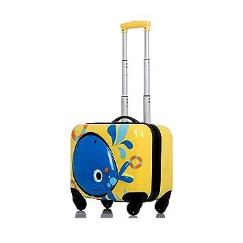 Laganxiang Maleta para niños Lindos 3D 18 Pulgadas Caja Mini Carro Universal Rueda Maleta de embarque Hombres y Mujeres bebé (Color : Amarillo): Amazon.es: ...