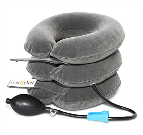 EverRelief Cervical Neck Traction Device FDA Registered  Inflatable & Adjustable Neck Stretcher Collar for Home Traction Spine Alignment