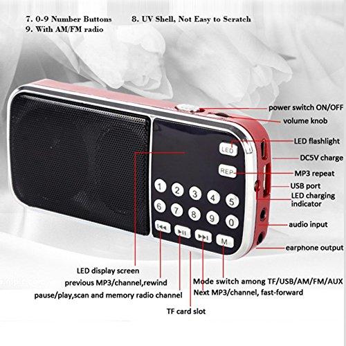 Mercu Portable Mini USB Player FM Radio Outdoor Double Loudspeaker Music Player Micro SD/TF Card For PC iPod Phone(Red) by Mercu (Image #1)
