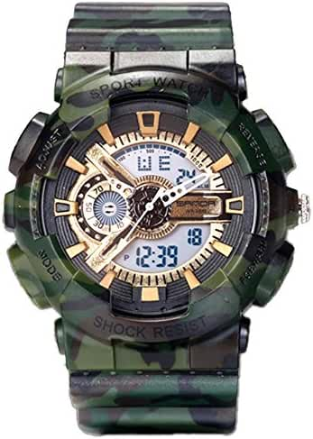 Young Adults Boys Girls Ourdoor Sport Military 50M Waterproof Watches Shock Resist For Hiking Green+Gold