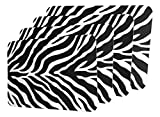 "Unique & Custom {11'' x 17'' Inch} Set Pack of 6 Rectangle ""Non-Slip Grip Texture"" Large Table Placemats Made of Flexible Vinyl w/Animal Zebra Stripe Print African Design [Colorful Black & White]"