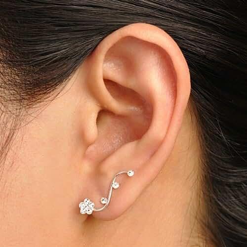 925 Sterling Silver Swarovski Crystal Flower Vine Design Cuff Earrings