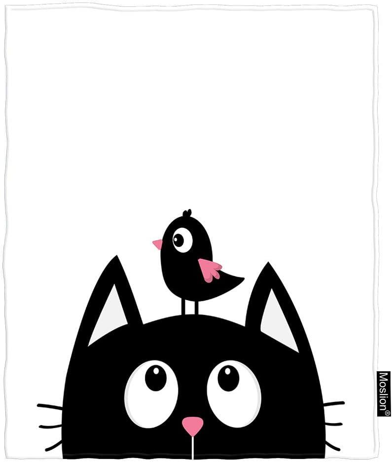 Amazon Com Moslion Cat Throw Blanket Cute Animals Bird On Cartoon