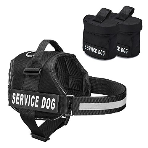 vice Dog Harness With Detachable Backpacks & Patches, and Handle | Available In 7 Sizes From Small to Extra Large | Vest Features Reflective Patch and Comfortable Mesh Design ()