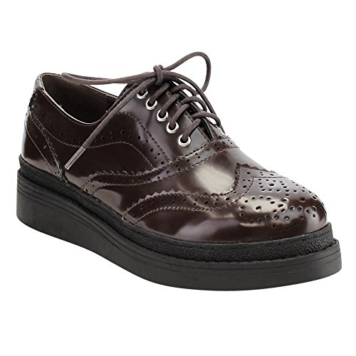 C Label Ae43 Kvinnor Snör Åt Upp Perforerad Vingspets Brogue Plattform Kil Oxfords Brun