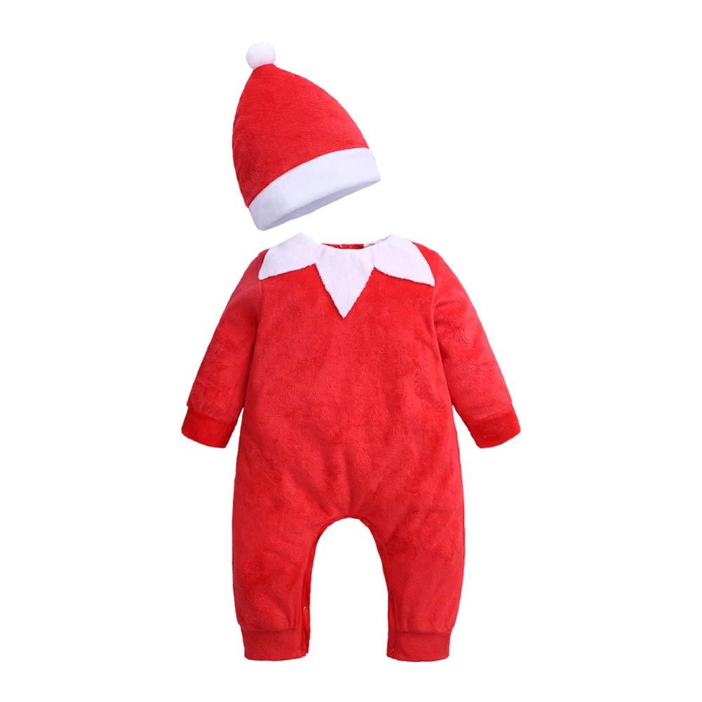 Hongyuangl Pagliaccetto da Neonato a Maniche Lunghe in Tuta Neonato Unisex con Cappello da Babbo Natale Abbinato