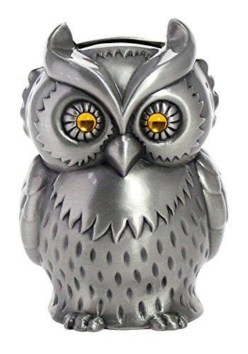 JustNile Vintage Zinc Alloy Owl Piggy Bank, Kids Money Coin Saving Box, Engraved Metal Silver Animal Figurine Decor, House Tabletop Ornament, 3.1x2.9x4.3