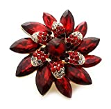 Teri's Boutique Marquise Stone Flower Rhinestone Fashion Accessory Stretch Adjustable Women Rings (Red)