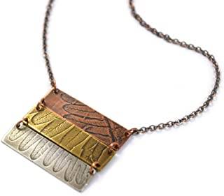product image for Modern Artisans Natural Fern Impression Mixed-Metal Triple Bar Necklace, 19""