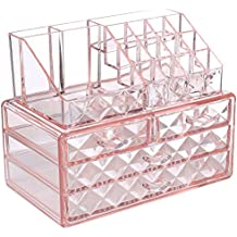 Ikee Design Pink Diamond Pattern Jewelry & Cosmetic Storage Display Boxes Two Pieces Set.