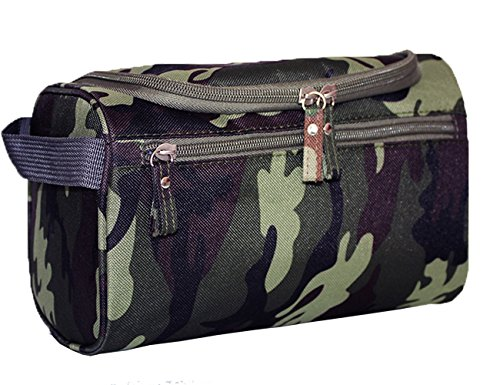 iSuperb Hanging Toiletry Bag Travel Bag Water Resistant Lightweight Wash Gym Shaving Bag Organizer for Women Men (Camouflage Dark Green) - Zippered Camouflage Travel Bag