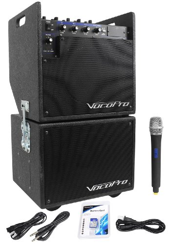 Vocopro Mobile Man 1 Battery Powered Portable PA Audio System And Subwoofer High Powered Amplifier For Big Sounds Even Outdoors, With Wireless Microphone,SD Card Recorder, Battery Powered For Portability, And (Vocopro Sub)