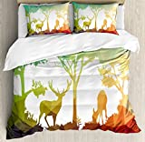 Ambesonne Africa Duvet Cover Set King Size, Fractal Deer Family Geometric Cut Shapes Hunt Adventure Themed Desert Eco Graphic, Decorative 3 Piece Bedding Set with 2 Pillow Shams, Multicolor