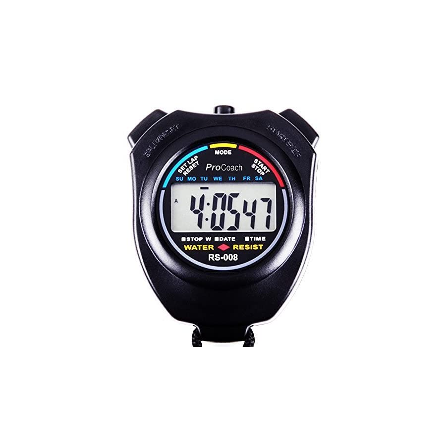 ProCoach Sports Stopwatch Timer RS 008 Large Display, Water Resistant, Professional | The Athlete's Choice