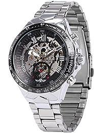 Men's Mechanical Watch Silver Steel Skeleton Dial Black Round PMW107