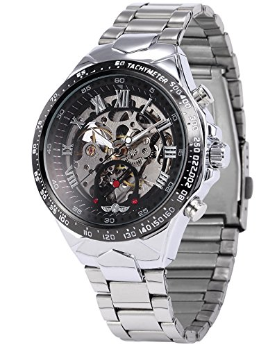 Mechanical Silver Dial (AMPM24 Men's Mechanical Watch Silver Steel Skeleton Dial Black Round PMW107)