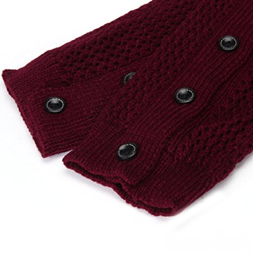 Womens Winter Stockings, Egmy Womens Mesh Five Buttons Leg Warmers Socks Boot Cover Red