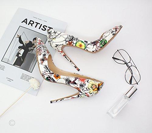 Onlymaker Frauen Spitz High Heels Blumendruck Stiletto Slip auf Pumps Party Brautkleid Schuhe Weiß