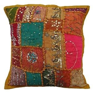"Naranja almohada cubierta Patchwork Cojín 38 cm Lentejuelas algodón funda de almohada Throw 15 ""India Regalos"