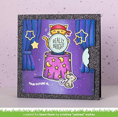 Lawn Fawn Fortune Teller Tabby Clear Stamps and Coordinating Dies LF2016, LF2017 Bundle of 2 Items