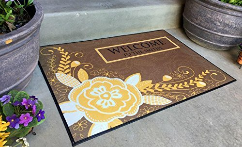 Qualtry Personalized Outdoor Welcome Entrance Door Mat - Decorative Front Door Welcome Rug Wedding Gift (Flower Smith Design, Large Size) by Qualtry