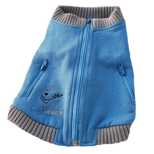 Anima Cotton Wool Blend Blue Zip Up Sweater, Grey Knit Cuffs, X-Small (Blue Chihuahua compare prices)