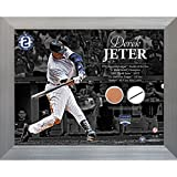 FRAMED 11 Inch X 14 Inch DEREK JETER TIMELINE WITH UNIFORM SWATCH & GAME-USED MLB AUTHENTIC YANKEE STADIUM GAME USED DIRT(MLB AUTHENTICATED)