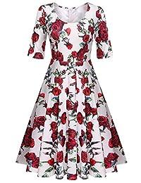 Meaneor Women's Half Sleeve Swing Dress Floral Print Knee Long A Line Tea Dress